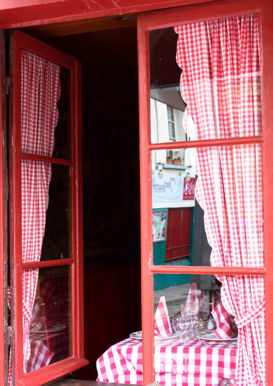 Red and White Paris Window in Montmartre