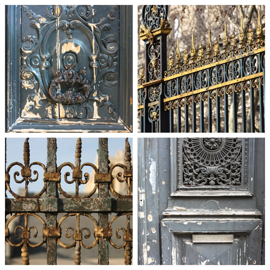 Paris doors in blue and gold