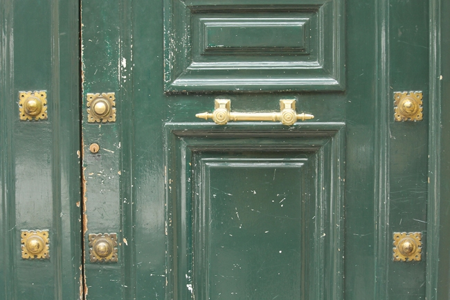 green and gold paris door