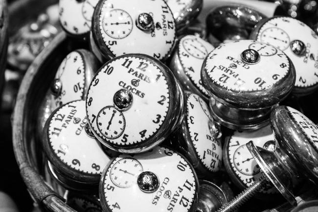 black and white paris clocks