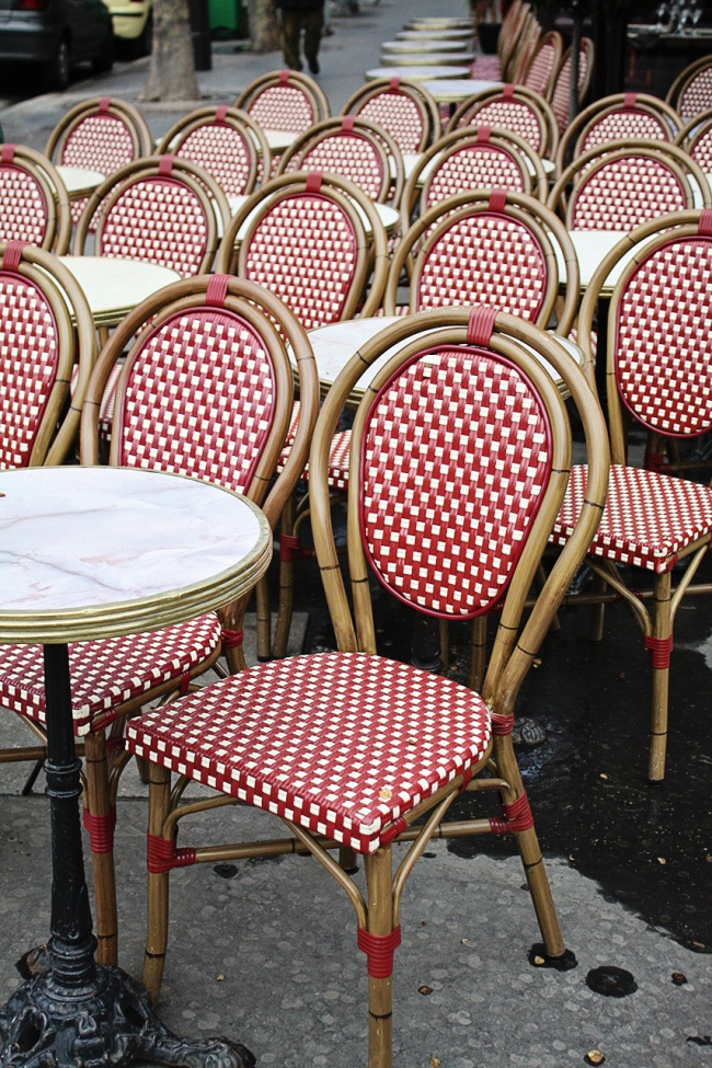 paris red cafe chairs