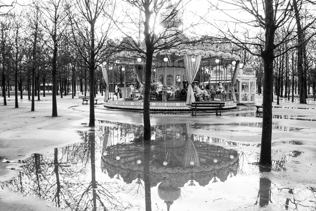 paris carousel black and white